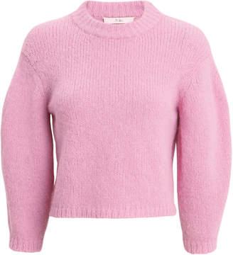 Tibi Textured Crop Pink Sweater