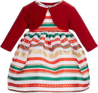 Blueberi Boulevard Baby Girls 2-Pc. Shrug & Striped Dress Set