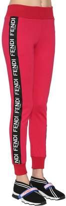 Fendi Logo Side Bands Cotton Jersey Sweatpants
