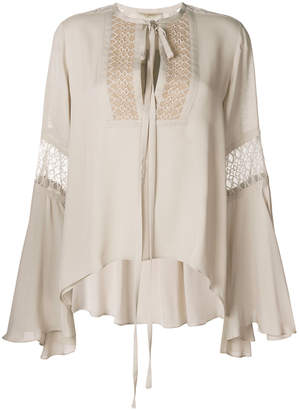Elie Saab embroidered tie neck blouse