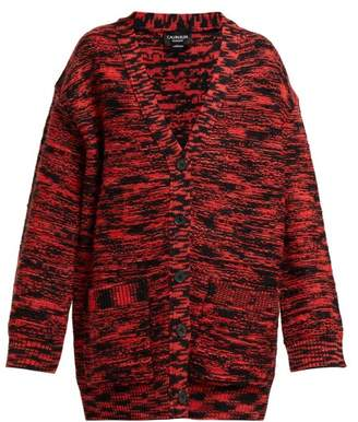 Calvin Klein Oversized Space Dye Wool Cardigan - Womens - Black Red