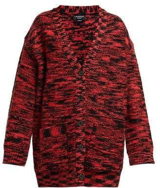 Calvin Klein Oversized Space Dye Wool Cardigan - Womens - Black Red