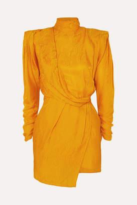 Dundas - Draped Open-back Satin-jacquard Mini Dress - Yellow
