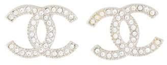 Chanel Strass CC Logo Stud Earrings Silver Strass CC Logo Stud Earrings