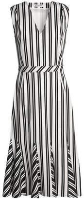 Altuzarra Pleated Striped Wool-Blend Dress