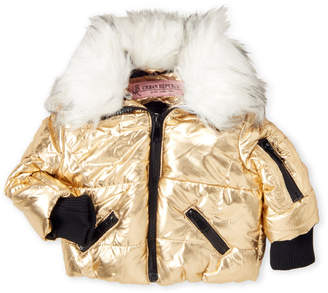 Urban Republic Toddler Girls) Faux Fur Trim Gold Quilted Puffer Coat