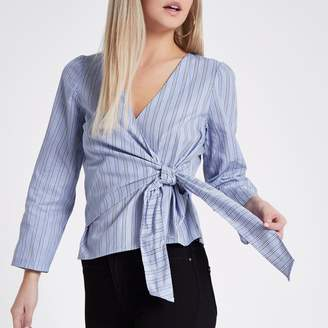 River Island Womens Petite Blue stripe wrap long sleeve top