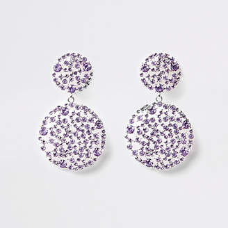 River Island Light purple rhinestone clip on drop earrings