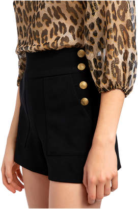 Alice + Olivia DONALD GOLD BUTTON SHORTS