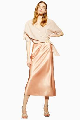 6822ba911 Topshop Split Side Satin Bias Midi Skirt