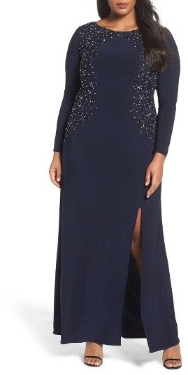 Alex EveningsPlus Size Women's Alex Evenings Embellished A-Line Jersey Gown