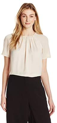 Lark & Ro Women's Short Sleeve Gathered Neck Top