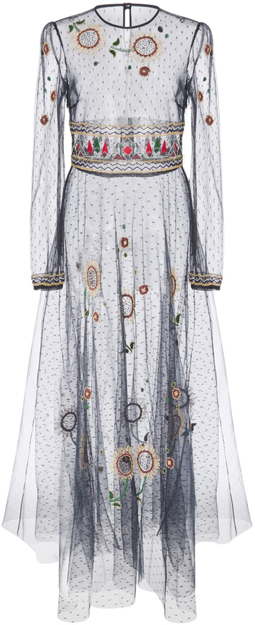 RED Valentino Red Valentino Beaded Floral Long Sleeve Dress