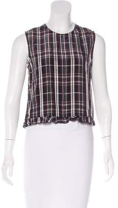 Jenni Kayne Ruffle-Trimmed Plaid Top w/ Tags