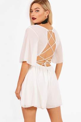 boohoo Paige Lace Up Back Playsuit