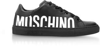 Moschino Serena Black Calf Leather Low Top Sneakers w/White Logo