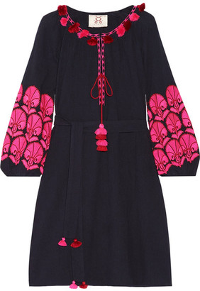 Figue - Coco Embellished Embroidered Cotton-gauze Mini Dress - Midnight blue $395 thestylecure.com