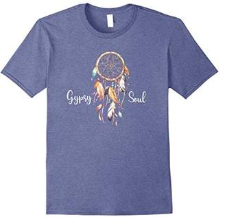 Gypsy Soul Quote Dream Catcher Boho Feathers Beads T Shirt
