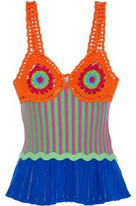 Moschino Crochet Stretch And Pointelle-Knit Cotton Top
