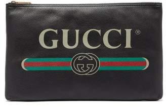 Gucci Logo Print Large Leather Pouch - Mens - Black