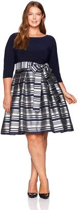 Jessica Howard JessicaHoward Women's Plus Size Stripe Print Fit and Flare Dress
