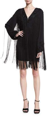 Haute Hippie V-Neck Lace-Up Fringe Cocktail Dress