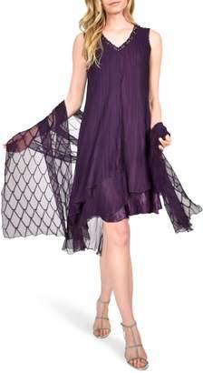 Komarov Asymmetrical Ruffle Charmeuse Dress with Wrap