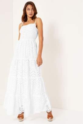Lipsy Broderie Button Through Cami Maxi Dress - 8 - White