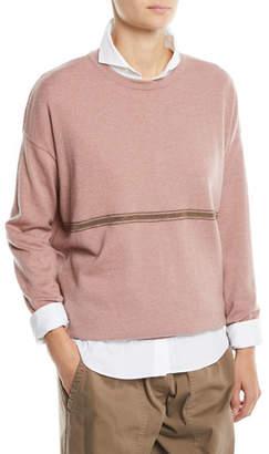 Brunello Cucinelli Cashmere Crewneck Sweater w/ Monili Stripe