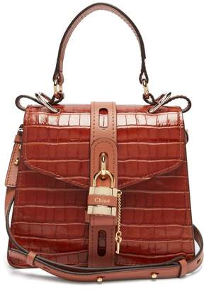 Chloé Aby Small Crocodile Effect Leather Shoulder Bag - Womens - Brown