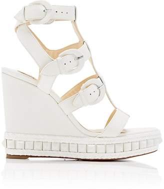 Christian Louboutin Women's Rocknbuckle Leather Wedge Sandals