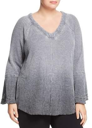 Seven7 Jeans Plus V-Neck Waffle-Knit Top