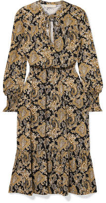 MICHAEL Michael Kors Paisley-print Stretch-jersey Midi Dress - Gold