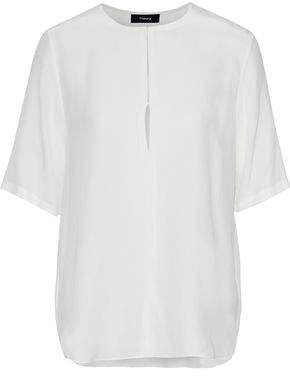 Theory Antazie Washed-Silk Blouse