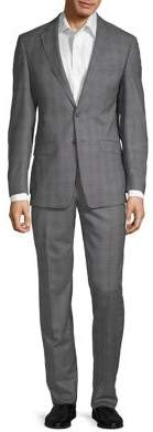 Calvin Klein Windowpane Plaid Wool Suit