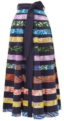Mary Katrantzou Camille Striped Cotton Blend Maxi Skirt - Womens - Multi