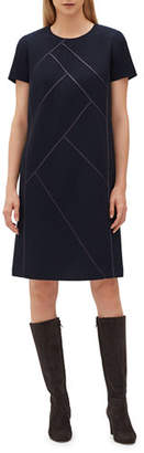 Lafayette 148 New York Henora Short-Sleeve Crewneck A-Line Wool Dress w/ Charmeuse Piping