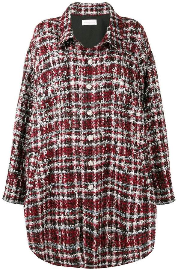 embellished checked coat