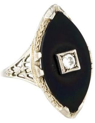 Ring 18K Vintage Onyx & Diamond Filigree Cocktail