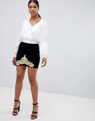 Missguided velvet skirt with gold trim