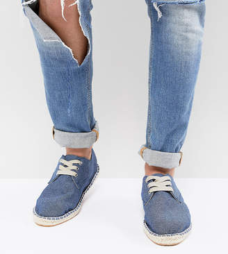 Asos Design DESIGN Wide Fit Lace Up Espadrilles In Blue Denim Chambray