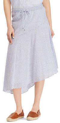 Lauren Ralph Lauren Asymmetrical Striped Midi Skirt