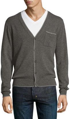 Neiman Marcus Cashmere Contrast-Tip Modern Cardigan $295 thestylecure.com