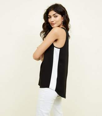 New Look Black Side Stripe Racer Back Vest Top