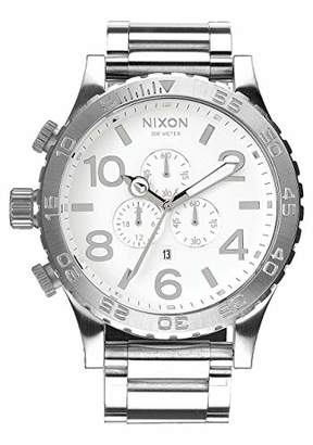 Nixon 51-30 Chrono. 100m Water Resistant Men's Watch (XL 51mm White Watch Face/ 25mm High Polish Silver Stainless Steel Band)
