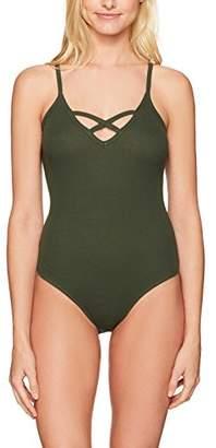 Mae Amazon Brand Women's Ribbed Crisscross Bodysuit