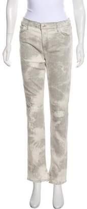 J Brand Rail Distressed Acid Wash Mid-Rise Straight-Leg Jeans w/ Tags