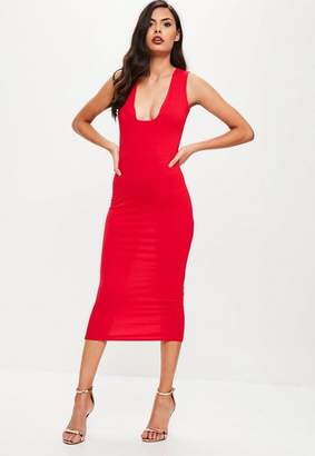 Missguided Red Square Neck Dress