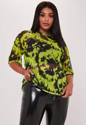 Missguided Plus Size Green Tie Dye Mesh T Shirt