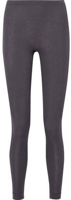 Hanro Silk And Cashmere-blend Jersey Leggings - Charcoal